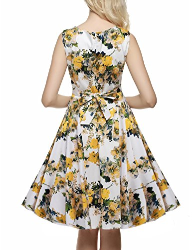 Party 1950's Yellow Floral Spring Garden Light Sleeveless Women's Vintage ACEVOG Picnic Dress 01xwq7RE