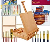 Artist Table Easel, Paints, Stretched Canvases, Brush Sets, Art Supplies for Oil Painting with Instruction Book