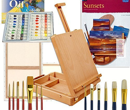 Artist Table Easel, Paints, Stretched Canvases, Brush Sets, Art Supplies for Oil Painting with Instruction Book by Online Art Supplies