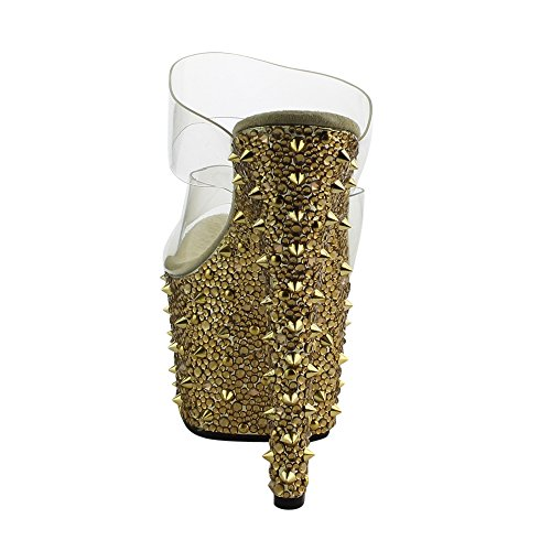 Pleaser Kvinders Bejeweled Platforme Pumps Klar / Guld Krom BNTBFoe0P