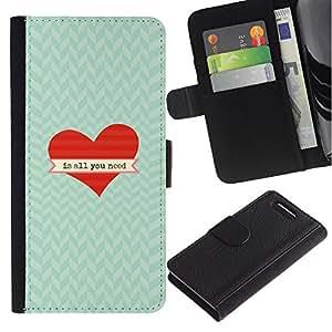 A-type (Is All You Need Heart Chevron Valentine) Colorida Impresión Funda Cuero Monedero Caja Bolsa Cubierta Caja Piel Card Slots Para Sony Xperia Z1 Compact / Z1 Mini (Not Z1) D5503