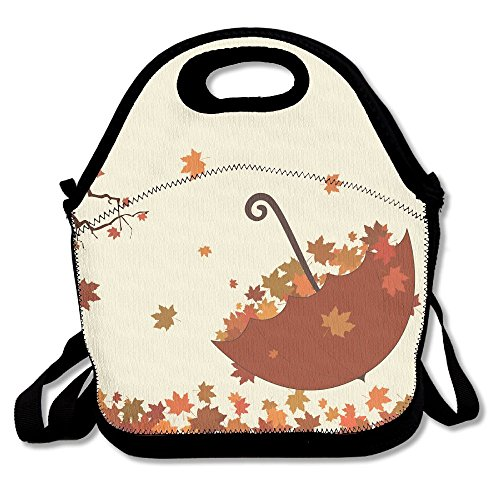 Umbrella And Fallen Leaves Printing Lunch Bags/Waterproof Lunch Box Tote Handbag,Durable Reusable Adjustable Shoulder Strap Picnic Bag,Easy Carry To School/Office/Picnic For Children Women Men Palm Umbrella Base