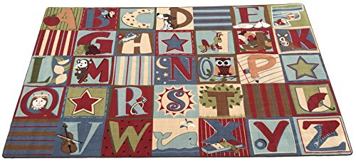 - Kid Carpet FM792-22A Alphabet Seating Nylon Area Rug Earth Tone, 4' x 6', Multicolored