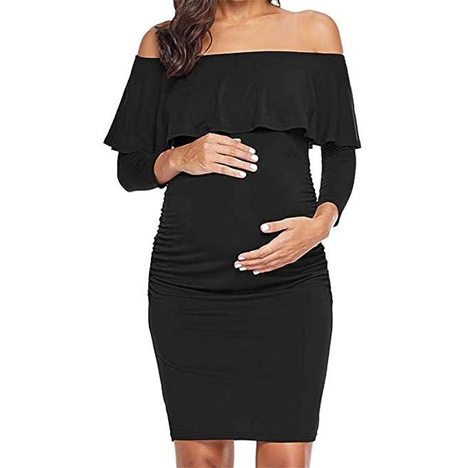 805e19bc7 HCFKJ Ropa Premamá Invierno Talla Grande para Mujer Embarazadas Embarazo  Puro Color Hoja De Loto Lado Una Palabra Hombro Partido Vestido De Fiesta  Falda  ...