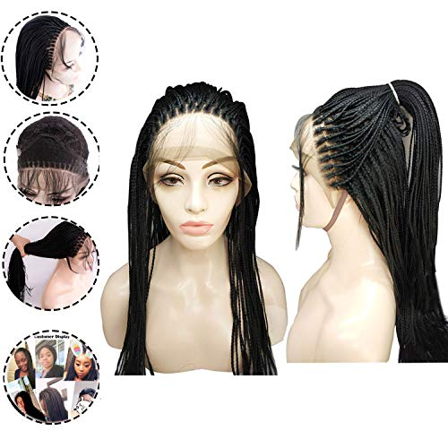 Braided Hair - LiyaHair Micro Braided Lace Front Wig Fully Hand Tied Synthethic Hair Braided Heat Resistant Hairs Wigs Free Part with Baby Hair for Black Women (Color Black)