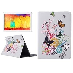 Musical Butterfly Pattern Protective Cover Funda PU Leather Case lápiz capacitivo para pantalla táctil con Holder & bolsillos internos para Samsung Galaxy Note 10,1 2014 (Editon) P600 /
