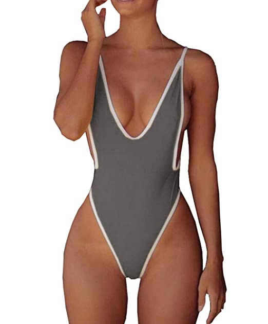 34ae793759 Women Deep V Neck One Piece Thong Swimsuit High Cut Backless Swimwear  Monokini Grey Small