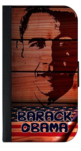 Barack Obama Art-TM Phone Case with Closing Flip Cover and Credit Card Slots for the Apple iPhone 7 Made in the U.S.A.