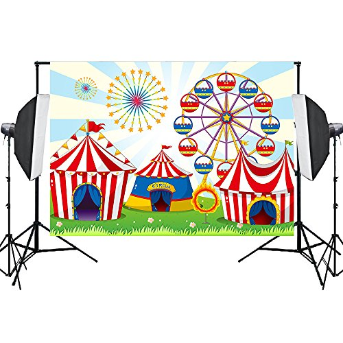 Aisnyho Circus Carnival Backdrop Birthday Backdrop Background for Photography Baby Shower Studio Shooting Decorations Photo Booth 7x5FT