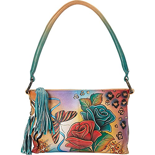 Anna by AnuschkaWomen's Genuine Leather Multi-Compartment Satchel | Hand-Painted Original Artwork |Rose Safari