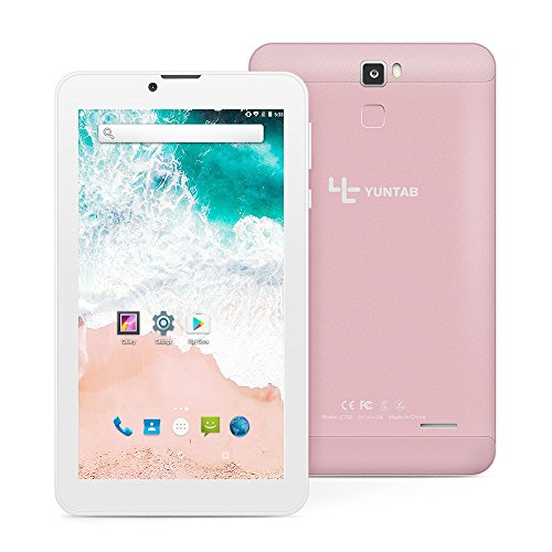 Yuntab E706 7 Inch Quad Core,Google Android 6.0,Unlocked Smartphone Phablet Tablet PC,1G+8G,HD 1024x600,Dual Camera,IPS,WiFi,G-Sensor,Support 3G Dual SIM Card with Alloy Metal Back(Rosegold)