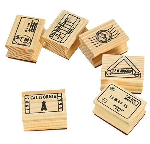 6 Pcs Travel Passport Stamp, Wooden Rubber Stamps