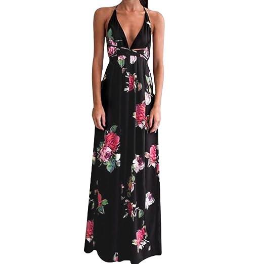 a5cd1249800 Women s Sexy Sleeveless Deep V Neck Backless Boho Floral Print Vintage Long  Maxi Dress (S