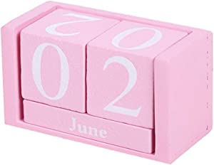 Vintage Wooden Calendar, Chic Blocks Desktop Perpetual Calendar, Time Concept Rustic Wooden Cubes Calendar Month Date Display Home Office Decoration (Pink)