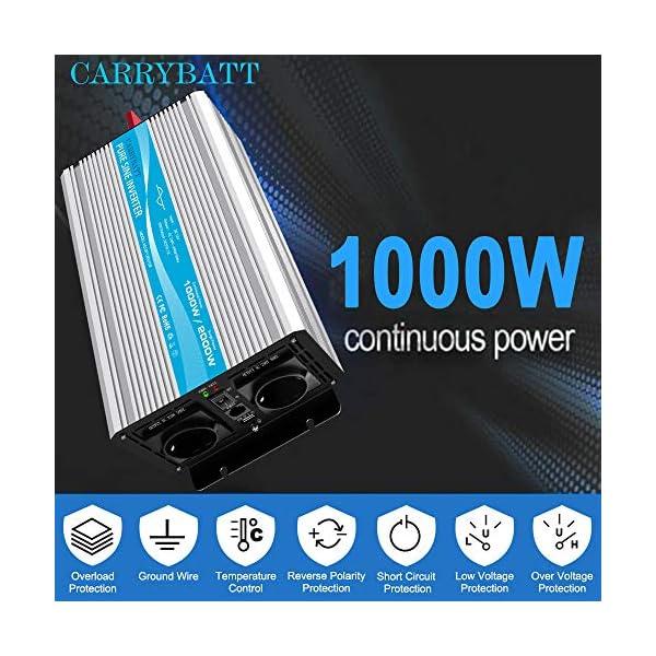 51Wt %2BkVTKL CARRYBATT 1000W kfz Spannungswandler Wechselrichter Reiner Sinus 12V auf 230V-inkl.5 Meter Fernsteuerung-2-EU-AC…