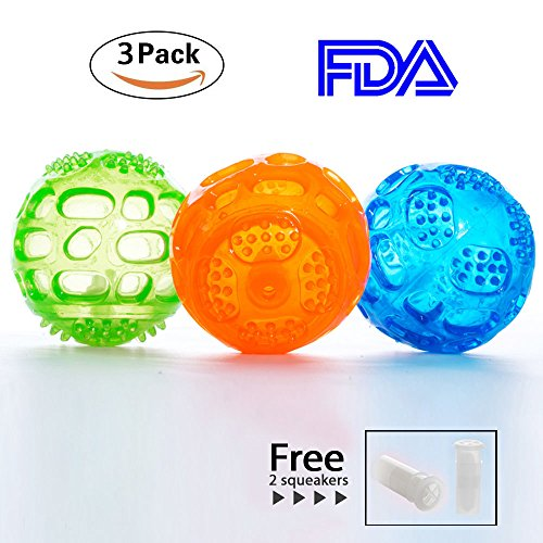 Wei an Squeak Chew Toy Ball, Durable Rubber Interactive Training Playing Pet Toy Balls for Small Large Dogs (3 Balls)