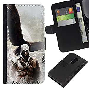 LECELL--Cuero de la tarjeta la carpeta del tirón Smartphone Slots Protección Holder For LG G2 D800 -- Asesinos Águila --