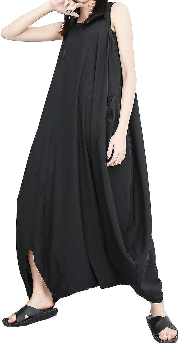 ellazhu Women's Summer Black Harem Jumpsuit Maxi Romper Playsuit GY1791 A