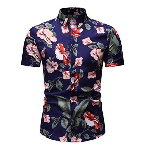 Toimothcn Aloha Shirts Men's Vintage Floral Printed Short Sleeve Top Slim Fit Button Down Hawaiian T-Shirt (Dark Blue,XL) ()