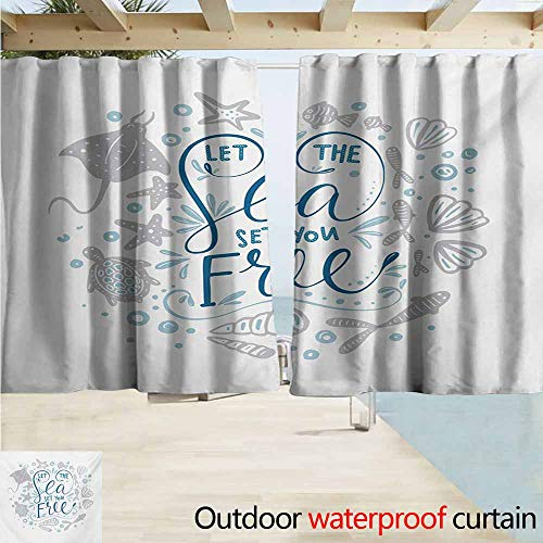DocGike Nautical Grommet Outdoor Curtains Let The Sea Set You Free Quote with Shellfish Turtle and Stingray for Patio/Front Porch W55 xL63 Pearl Navy Blue Pale Blue