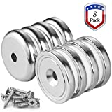 Wukong 8 Pack 65LBS Holding Power with Dia 1.26'' X Thick 0.32''Magnetic Grade N52 Neodymium Disc Countersunk Hole Magnets. Strong, Permanent, Rare Earth Magnets,With 8 screws.