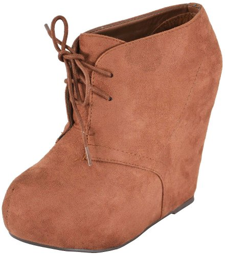 Breckelle Jenny-13 Blush Women Wedge Boots, 8.5 M US