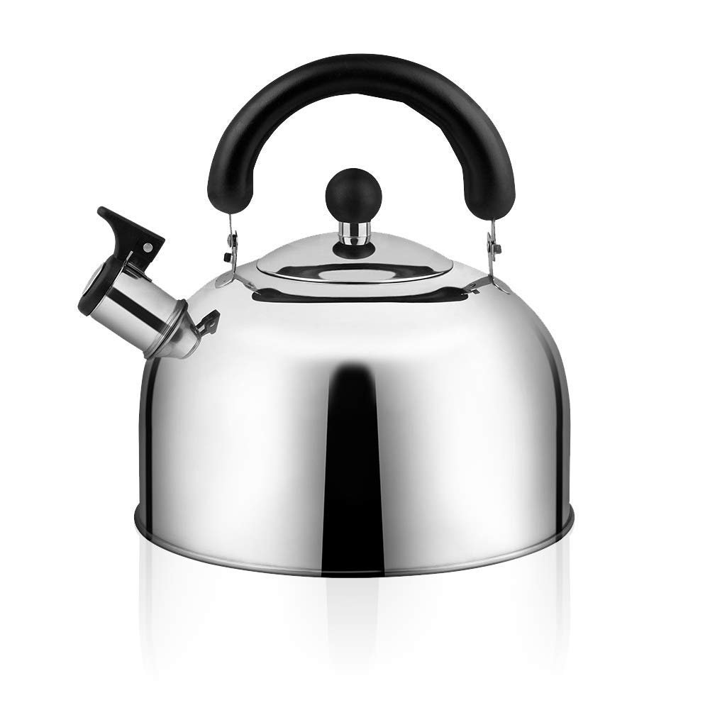 Whistling Tea Kettle for Stovetop, 4-Liter(4.3 QT), Stainless Steel Tea Pot with 3-ply Capsule Base, Large Teakettles Tea Pots Quick Heating by Ecpurchase