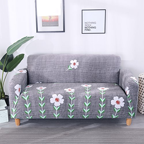 Lamberia Printed Sofa Cover Stretch Couch Cover Sofa Slipcovers for 4 Cushion Couch with One Free Pillow Case (Little Flower, Sofa-4 Seater) (Pillow Couch Slipcovers)