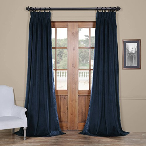 HPD HALF PRICE DRAPES Half Price Drapes VPCH-194023-120-FP Signature Pleated Blackout Velvet Curtain, 25 x 120, Midnight (Blue Pleated Drapes)