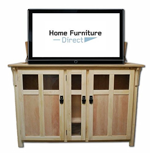 (Bungalow Unfinished TV Lift Cabinet with 50 Degree Swivel)