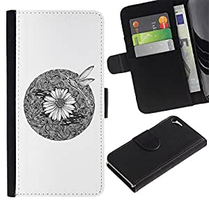 ARTCO Cases - Apple Iphone 5 / 5S - Oriental Chrysanthemum Flower and Dragonfly Illustration - Slim PU Leather Wallet Credit Card Case Cover Shell Armor