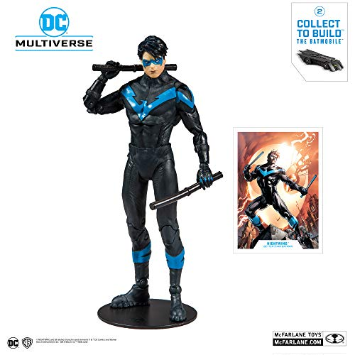 McFarlane Toys DC Multiverse Nightwing: Better Than Batman Action Figure with Build-A Rebirth Batmobile (Piece 2), Multicolor