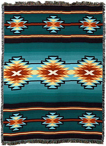 Pure Country Weavers - Aydin Southwest Blanket | Woven Tapestry Camp Throw with Fringe Cotton USA 72x54