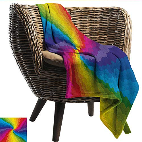 EwaskyOnline Colorful Knee Blanket Stained Glass Design in Rainbow Colors Burst Effect Abstract Mosaic Swirls Artwork Sofa Warm Bed 72