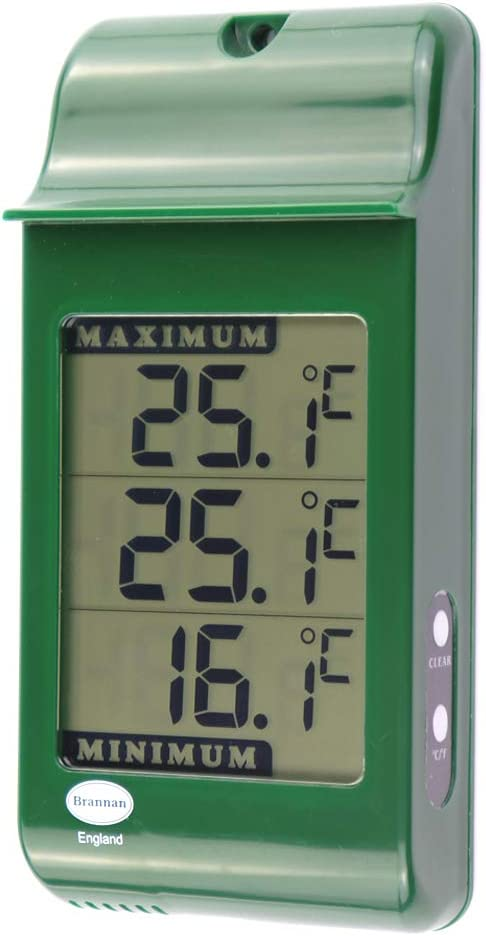 S. Brannan & Sons Digital Max Min Greenhouse Thermometer - Monitor Maximum and Minimum Temperatures for Use in The Garden Greenhouse or Home & Can Be Used Indoor or Outdoor Easily Wall Mounted