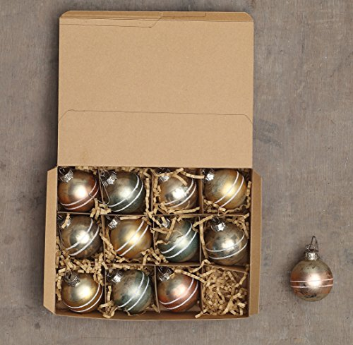 Creative Co-op XC5561 Set of 12 Mercury Glass Gold Tint Finish Assorted Ball Ornaments, Boxed ()