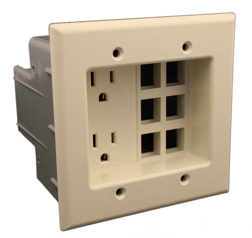 Leviton 690 W 15 Amp 2 Gang Recessed Device With Duplex Receptacle Structured Wiring Box And Quickport Plate Residential Grade White Electric Plugs