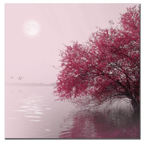 Full Moon on the Lake - Pink Canvas Wall Art - Nature wall decor