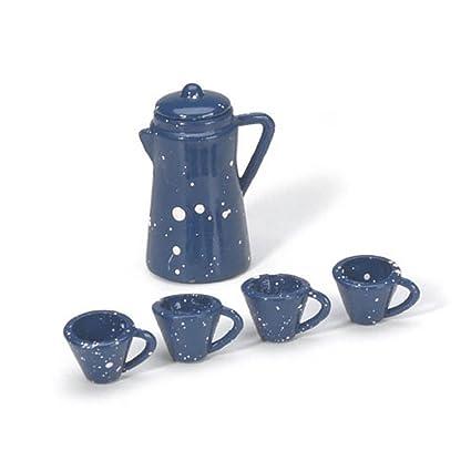 Amazoncom Miniature Coffee Pot With Cups Blue 78 Inch 1