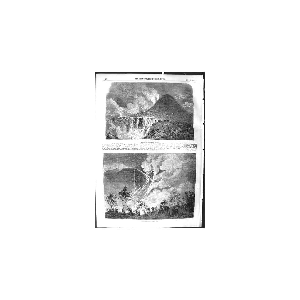 1855 Eruption Mount Vesuvius Volcano Mountain Print