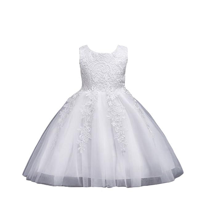 7d567a83f769 NiSeng Principessa da Sposa Vestito Bambina Floreale Pizzo Abiti da  Cerimonia Compleanno Partito Vestito Senza Maniche