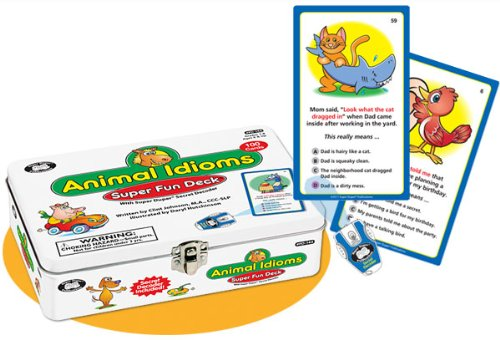 Animal Idioms Fun Deck Cards with Secret Decoder - Super Duper Educational Learning Toy for Kids