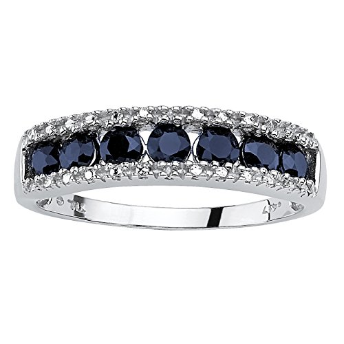 Round Genuine Blue Sapphire and Diamond Accent 10k White Gold Ring