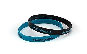 Pulsera Real Madrid Club de Fútbol Relieve Azul Turquesa Estándar para Hombre, Pulsera de Silicona, Producto Oficial