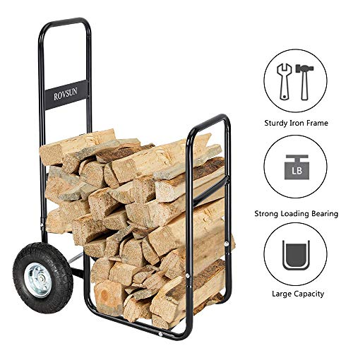 ROVSUN Firewood Cart with Large Wheels, Fireplace Log Rolling Caddy Hauler, Wood Mover Outdoor Indoor Storage Holder Rack, Heavy - Cart Firewood