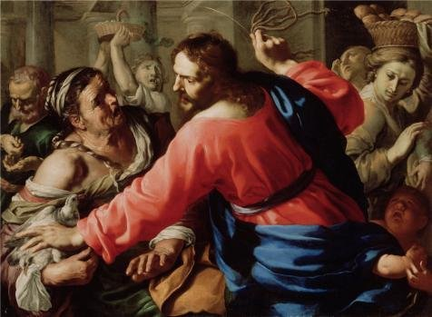 Oil Painting 'Christ Cleansing The Temple,1655 By Bernardino Mei', 24 x 33 inch / 61 x 83 cm , on High Definition HD canvas prints is for Gifts And Dining - Town Center Westland