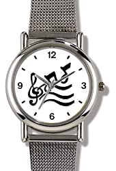 Music Symbol & Notes 2 - WATCHBUDDY® ELITE Chrome-Plated Metal Alloy Watch with Metal Mesh Strap - Small ( Children's Size - Boy's Size & Girl's Size )