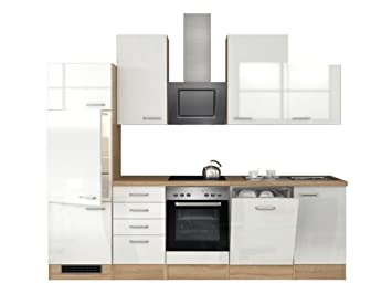 Küchenzeile 280 cm Hochglanz Weiß mit Schubkastenschrank und ...