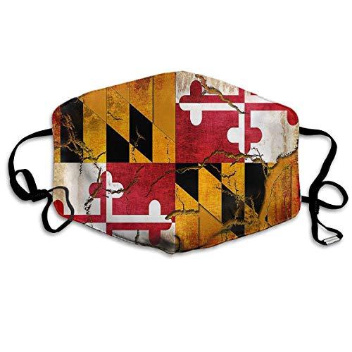 Unisex Maryland Flag Crack Grunge Anti-Pollution Mouth-Muffle Masks Mouth Face Masks