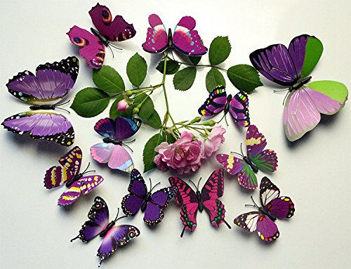 Get Orange 24pcs 3d Butterfly Stickers Art Decor Wall Stickers Crafts Butterflies for Room Decorations (Purple)